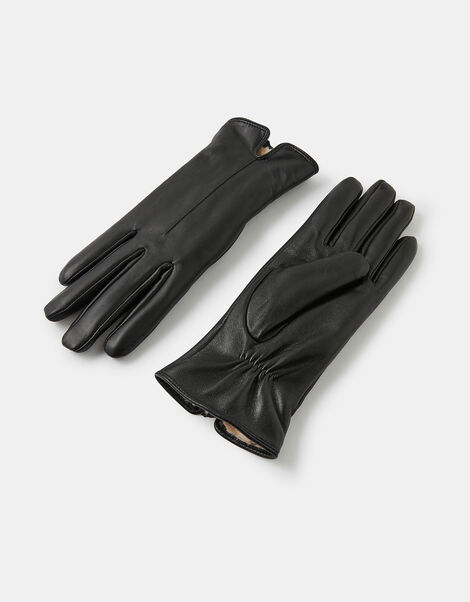 Faux Fur-Lined Leather Gloves Black, Black (BLACK), large