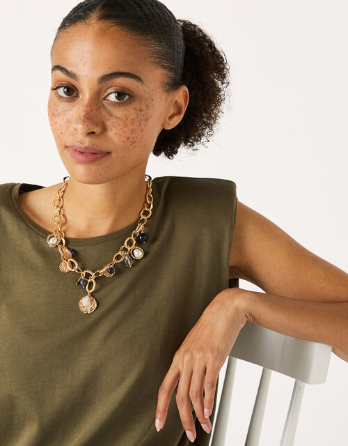 Chunky Multi-Charm Necklace, , large