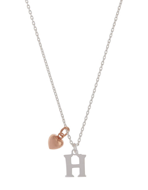 Sterling Silver Initial Necklace with Heart Charm - H, , large