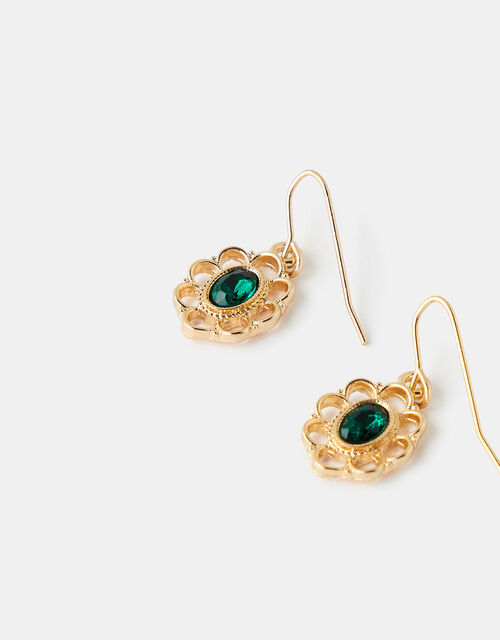 Filigree Emerald Short Drop Earrings, , large