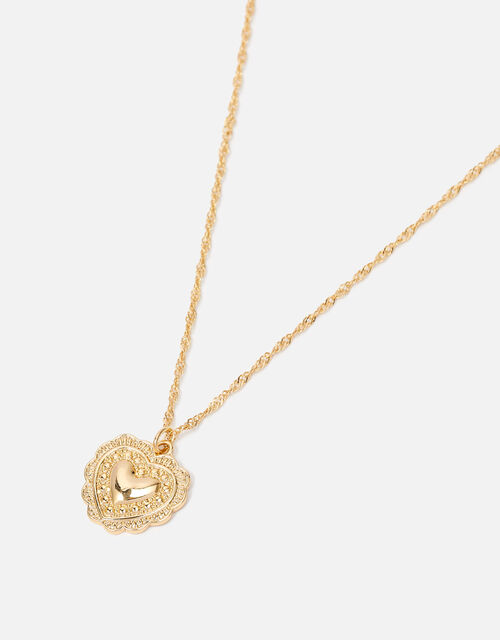 Heart Coin Pendant Necklace, , large