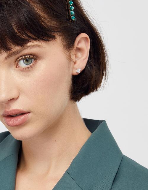 Sterling Silver Princess Cut Earrings, , large