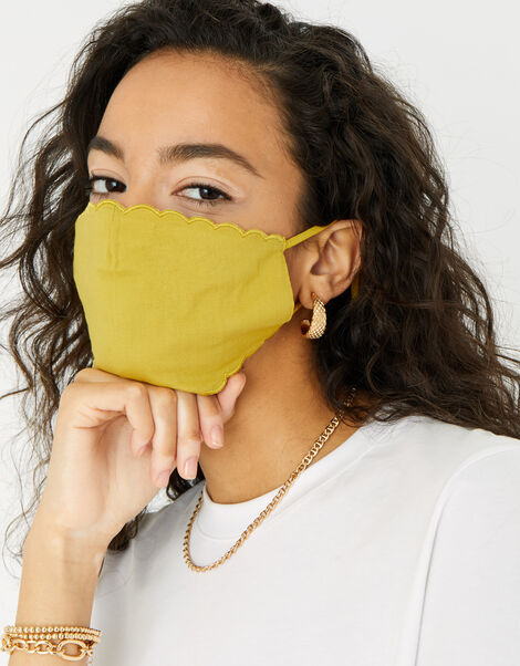 Scallop Edge Face Covering Yellow, Yellow (YELLOW), large