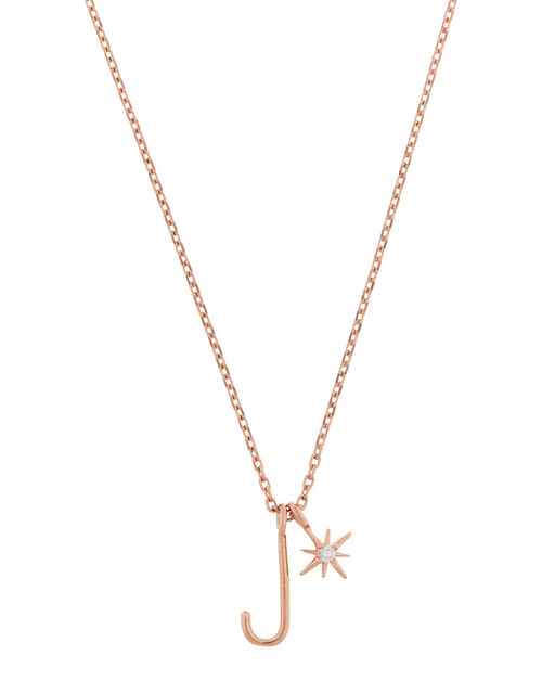 Rose Gold-Plated Initial Star Necklace - J, , large