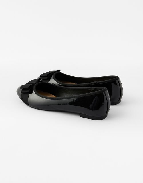 Bow Front Patent Ballerina Flats, Black (BLACK), large