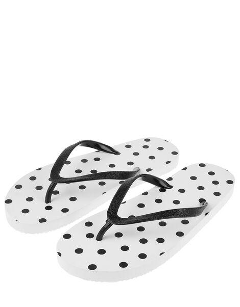 EVA Polka Dot Print Flip Flops White, White (WHITE), large