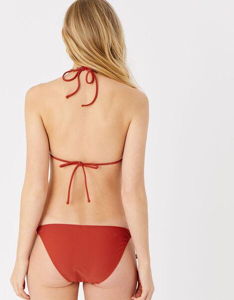 Embroidered Triangle Bikini Top Orange, Orange (RUST), large