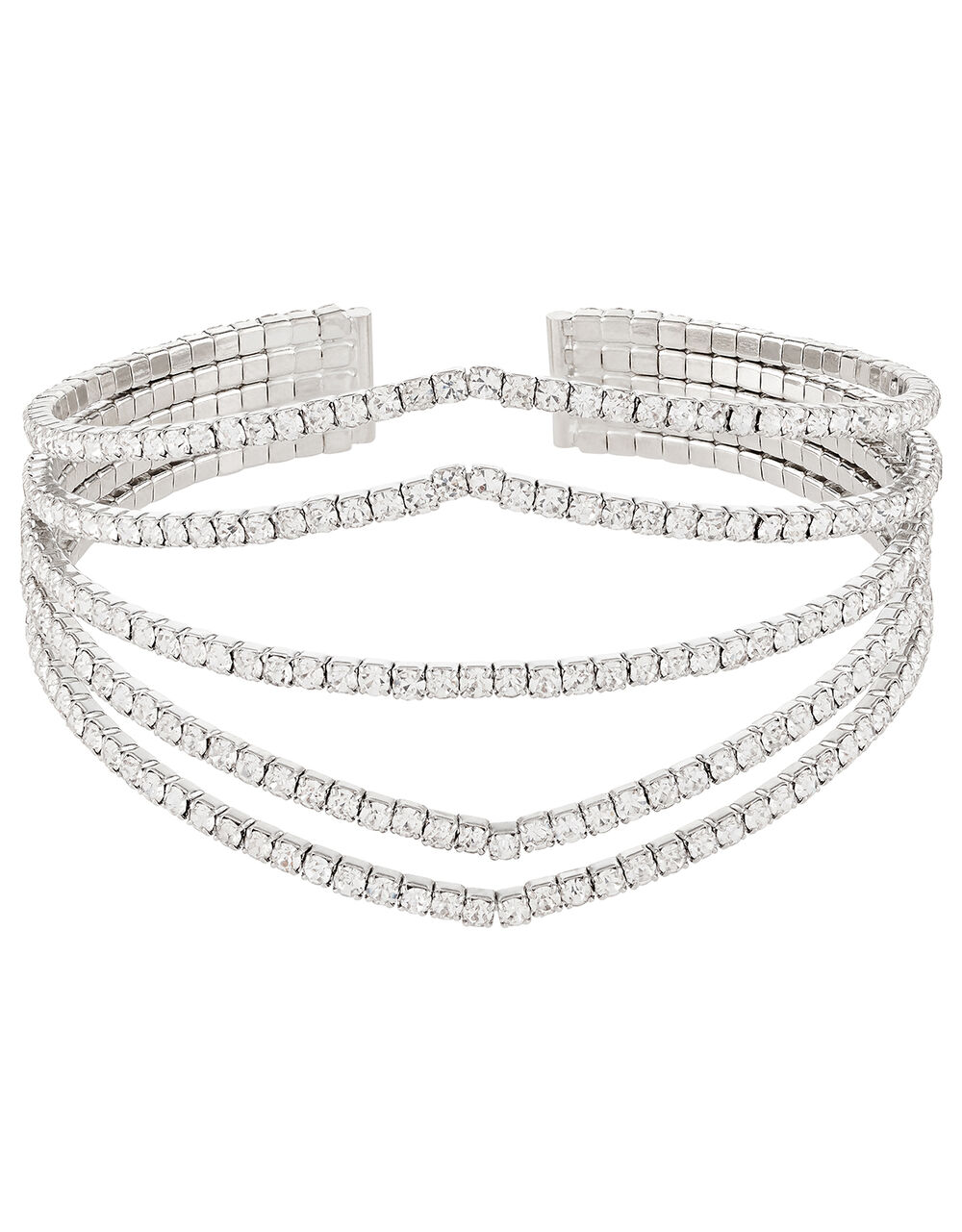 Multi-Band Diamanté Cuff Bangle, , large