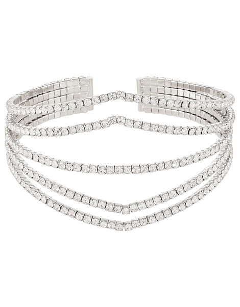 Multi-Band Diamanté Cuff Bangle, , large