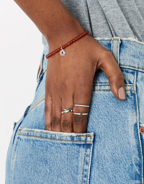 Sterling Silver Sacral Chakra Bracelet with Carnelian, , large