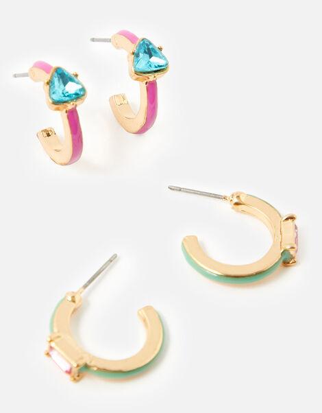 Coloured Gem Hoop Earring Set, , large