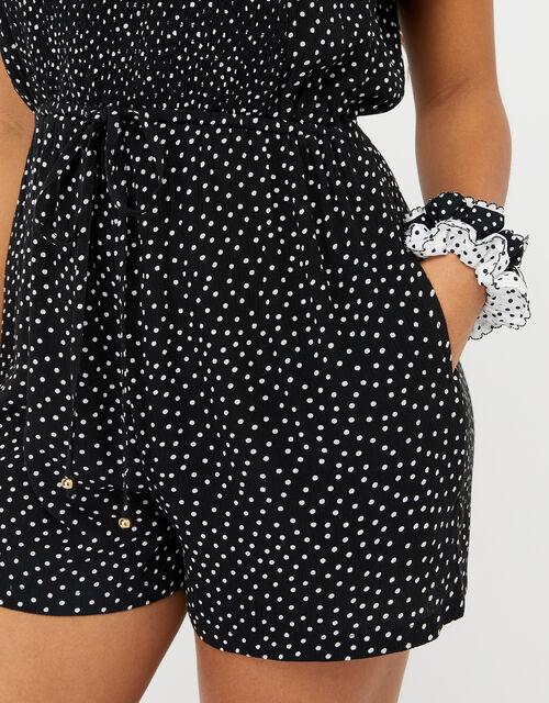 Polka-Dot Playsuit, Black (BLACK), large