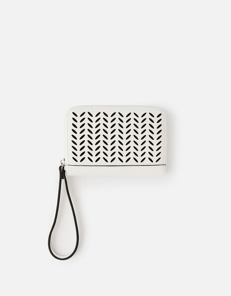 Cut-Out Pattern Zip Wallet White, White (WHITE), large