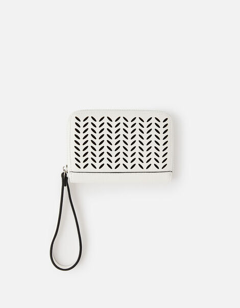 Cut-Out Pattern Zip Wallet White, White (WHITE), large
