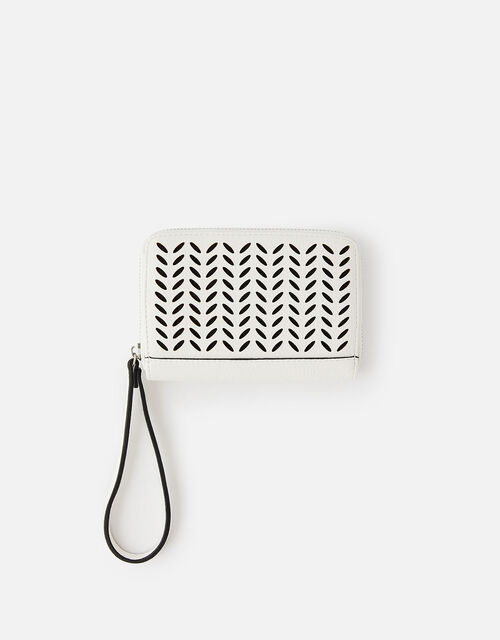 Cut-Out Pattern Zip Wallet, White (WHITE), large