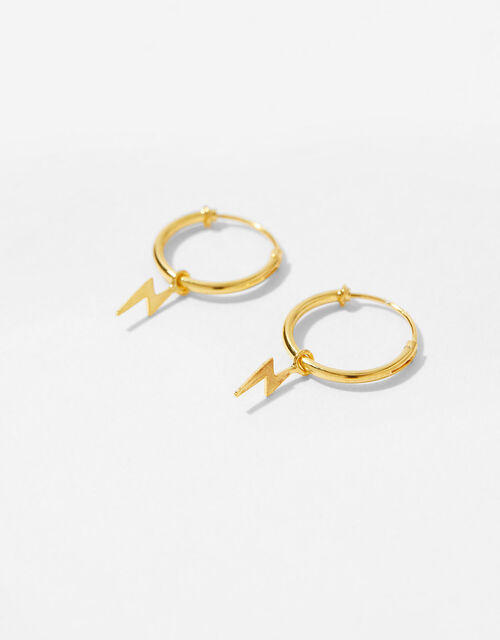 Gold-Plated Lightning Charm Huggie Hoops, , large