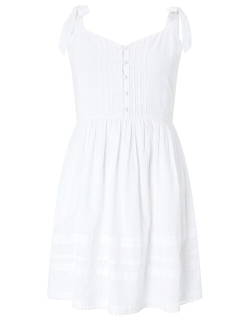 Cotton Mini Dress with Buttons, White (WHITE), large