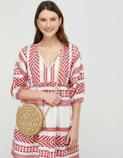 Patterned Jacquard Smock Dress in Pure Cotton Red, Red (RED), large