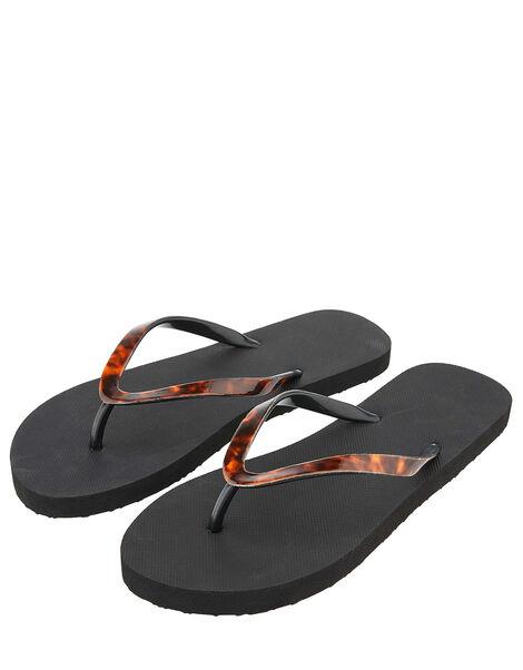 Tortoiseshell Eva Thong Flip Flops Black, Black (BLACK), large