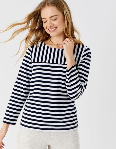 Stripe Boat Neck T-Shirt Blue, Blue (NAVY), large