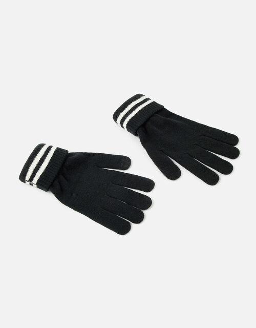 Varsity Stripe Touchscreen Gloves, Black (BLACK), large