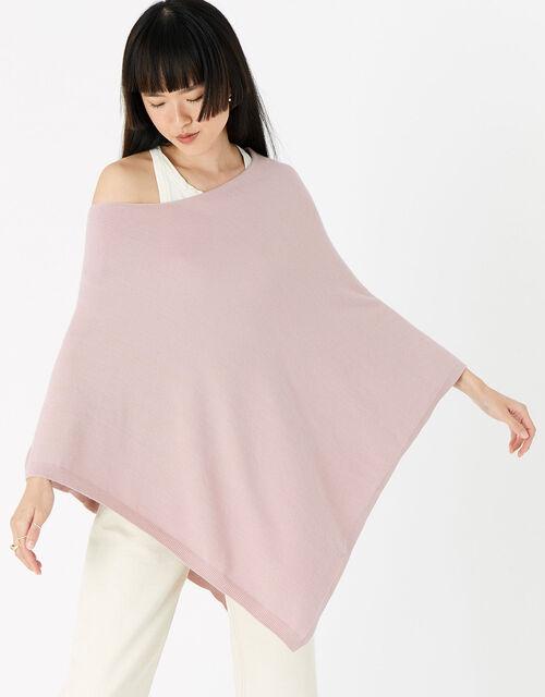 Lightweight Knit Poncho, Pink (PALE PINK), large