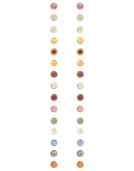 15x Multi Stone Stud Earrings Pack Multi, Multi (PASTEL-MULTI), large