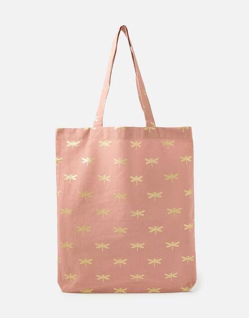 Novelty Foil Print Shopper Bag, Nude (NUDE), large