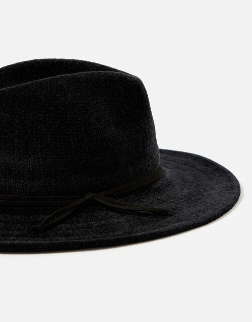 Chenille Packable Fedora Hat, Black (BLACK), large