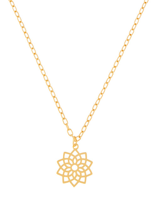 Gold-Plated Crown Chakra Pendant Necklace, , large