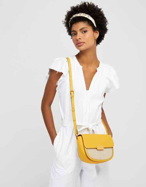 Linen Panel Cross-Body Bag, Yellow (YELLOW), large