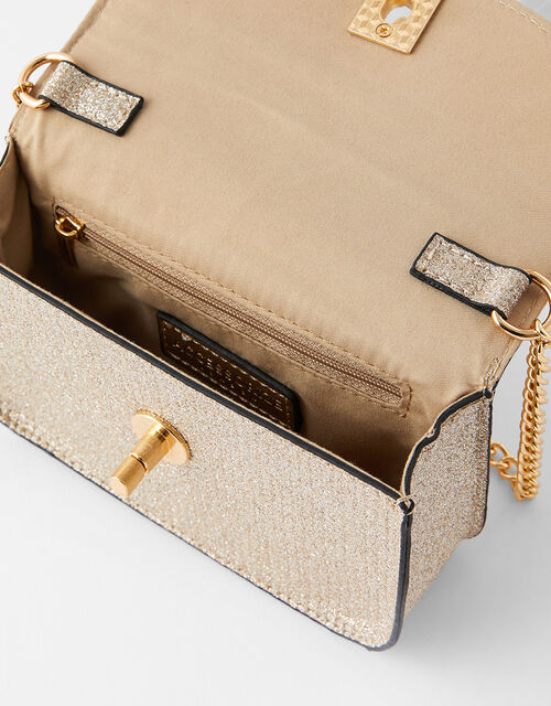 Glitter Cross-Body Bag, Gold (GOLD), large