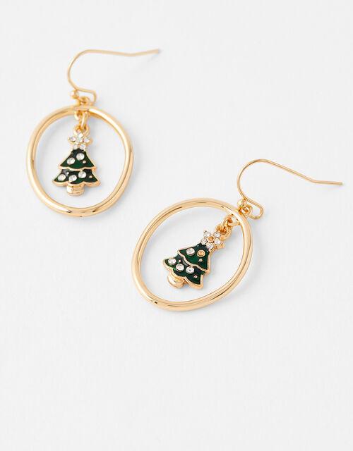 Sparkle Christmas Tree Charm Hoops, , large