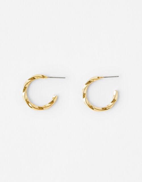 Square Edge Twist Hoops, , large
