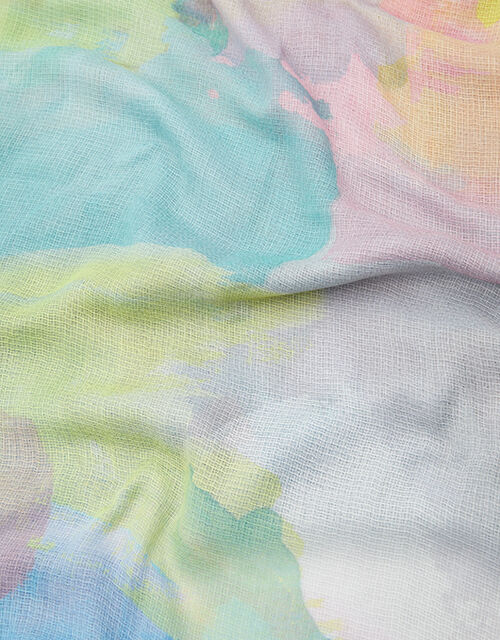 Watercolour Printed Scarf in Recycled Polyester, , large