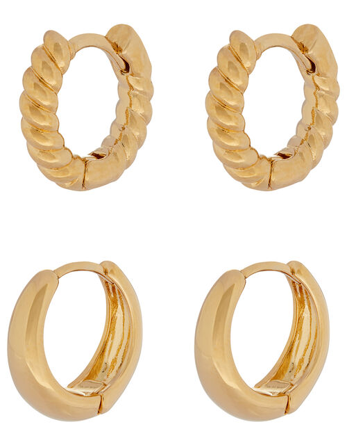 Gold-Plated Twist and Plain Huggie Hoop Set, , large