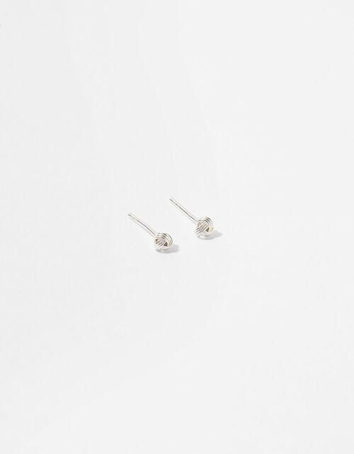 Sterling Silver Knot Stud Earrings, , large