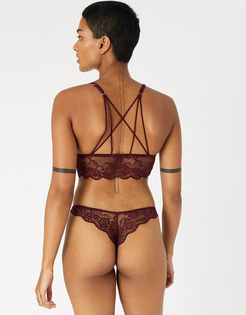 Floral Lace Brazilian Knickers, Red (BURGUNDY), large