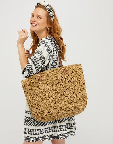 Raffia Shopper Bag with Colourful Strap, , large