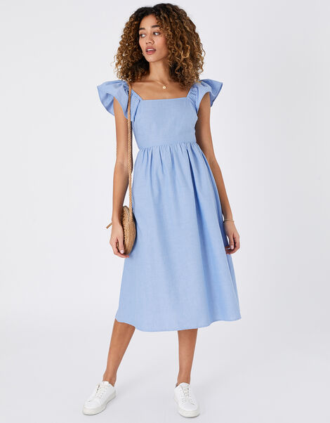 Frill Shoulder Midi Dress in Organic Cotton Blue, Blue (BLUE), large