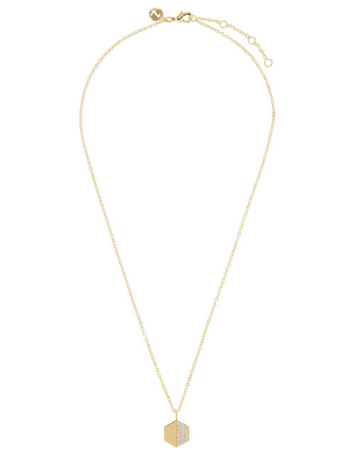 Sparkle Hexagon Pendant Necklace, , large
