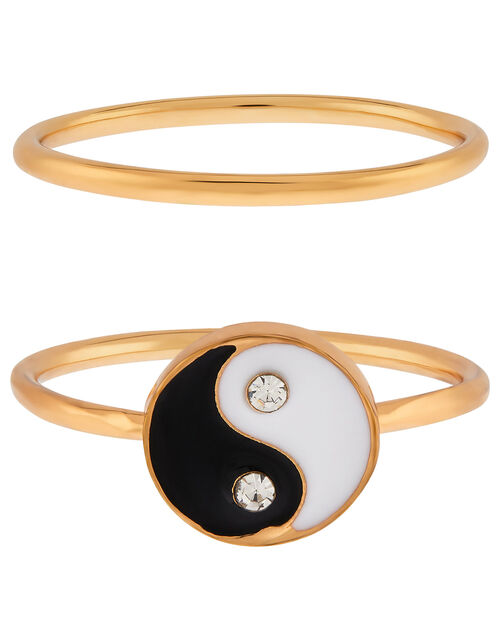 Yin and Yang Stacking Ring Set, Black (BLACK), large