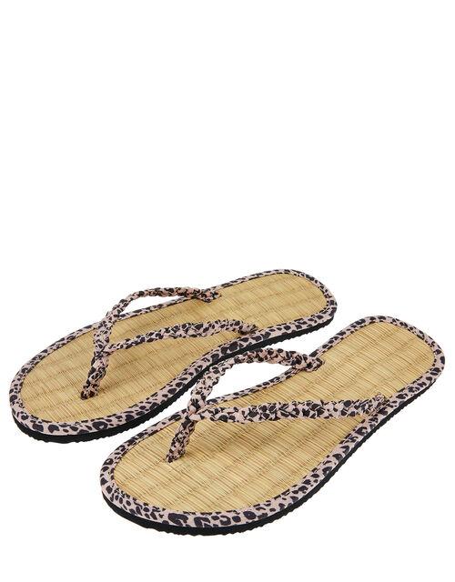 Leopard Plaited Flip Flops, Nude (NUDE), large