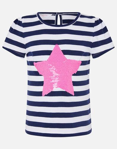Girls Sequin Heart Stripe T-Shirt Multi, Multi (BRIGHTS-MULTI), large