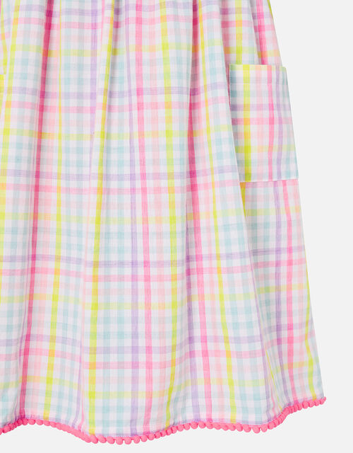 Rainbow Check Dress in Pure Cotton, Multi (BRIGHTS-MULTI), large