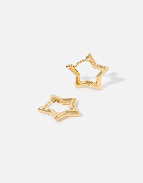 Gold-Plated Chunky Star Hoops , , large