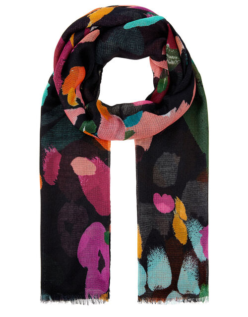 Midnight Floral Print Scarf, , large