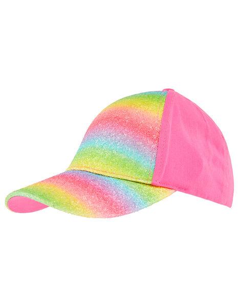 Girls Rainbow Cotton Baseball Cap Pink, Pink (PINK), large