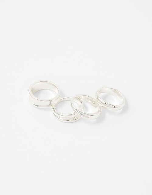 Chunky Stacking Ring Set with Recycled Metal, Silver (SILVER), large