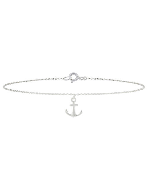 Sterling Silver Anchor Anklet, , large